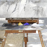 Old wooden art palette and a canvas Royalty Free Stock Photos