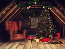 Old attic with a Christmas tree and presents royalty free illustration