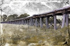 Old wooden Australian railway bridge Royalty Free Stock Photos
