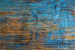 Old wooden background, grunge texture with blue paint and nails Stock Photo