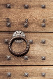 Old wooden background with metal rivets Stock Photo