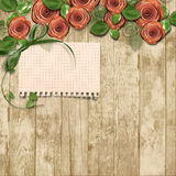 Old wooden background with paper roses and a place for text Stock Photos