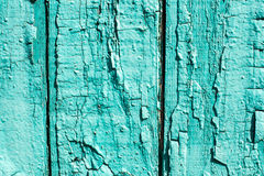 Old wooden background with peeled colour and cracks. Mint color Royalty Free Stock Photos