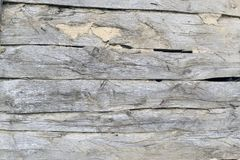 Old wooden background. Of several faded oak boards with wide slits and clay, front view Stock Photography