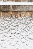 Old wooden background with snow Royalty Free Stock Images