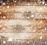 Old wooden background with snow Stock Photos