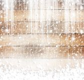 Old wooden background with snow Stock Images