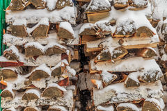 Old wooden background in the street in winter. Old wooden background in the street Royalty Free Stock Images