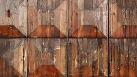 Old wooden background, three-dimensional in form of Truncated pyramid with a square base. Vintage texture. Wide photo for web site slider royalty free stock photo