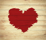 Old wooden background with Valentine's Day symbol,. Watercolor heart shape. Vector illustration Stock Photos