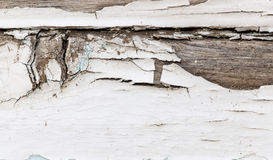 Old wooden background with white chapped paint Royalty Free Stock Photo