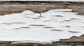 Old wooden background with white chapped paint Royalty Free Stock Photos