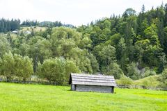 Old wooden barn in the Carpathians Stock Photo