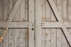 Old Wooden Barn Door Close-up Stock Photography