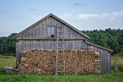 Old wooden barn. With firewood and a ladder on a background of forest stock photo