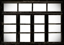 Old wooden barn grunge windows. Isolated on white royalty free stock images