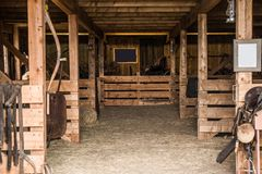Old Wooden Barn Interior Royalty Free Stock Photography