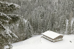 Old wooden barn in the mountain covered with snow in the forest Royalty Free Stock Photography