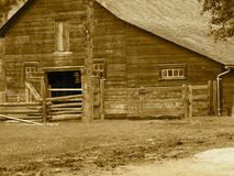 Old Wooden Barn In Sepia Tone Stock Photos