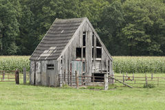 Old wooden barn. An old wooden barn standing in a meadow at the forests edge Stock Image
