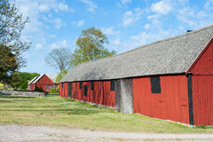 Old wooden barns and stables in Sweden Stock Images