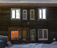 Old wooden barracks at winter night Royalty Free Stock Photos