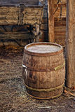 Old wooden barrel. In abandoned house farm Stock Photo