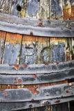 Old wooden barrel background heavily corroded Stock Photos