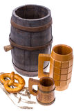 Old wooden barrel and beer mugs royalty free stock image