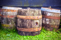 Old wooden barrel close-up. Royalty Free Stock Photography