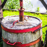 Old wooden barrel close-up Stock Photo