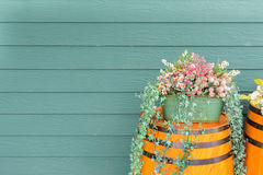 Old wooden barrel with flowers Royalty Free Stock Photography