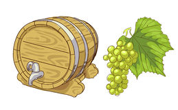 Old wooden barrel and grapes cluster. Illustration Royalty Free Stock Image