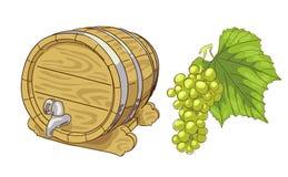 Old wooden barrel and grapes cluster. Illustration Stock Illustration