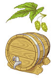 Old wooden barrel and hop branch. Stock Photo
