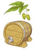 Old wooden barrel and hop branch. Illustration Royalty Free Illustration
