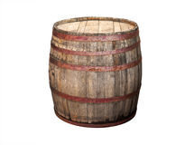 Old wooden barrel isolated on white Royalty Free Stock Image