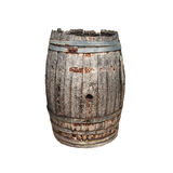 Old wooden barrel isolated on white Royalty Free Stock Photo