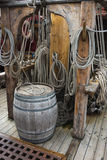Old wooden barrel on ships deck Royalty Free Stock Images