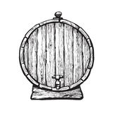 Old wooden barrel with tap. Black and white hand drawn vector illustrations in sketch style. Front view of beer, wine, rum whiskey traditional barrel. Isolated vector illustration