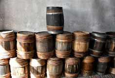 Old wooden barrels Stock Image