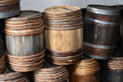 Old wooden barrels Stock Images