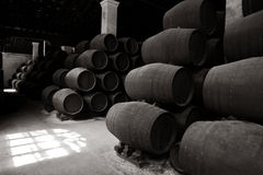Old wooden barrels of sherry in bodega. Of Spanish town of Jerez de la Frontera Royalty Free Stock Photography