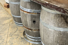 Old wooden barrels and tanks for processing wine. Oak Royalty Free Stock Photos