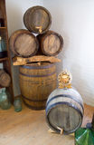Old wooden barrels of wine Stock Photo