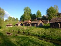Old wooden bathhouses in rural Russian  village Stock Photography