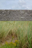 Old wooden beam with grass and sky Royalty Free Stock Photography