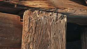 Old Wooden Beam in winter stock video