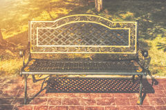 Old wooden bench autumn. In city park, natural vintage Royalty Free Stock Photography
