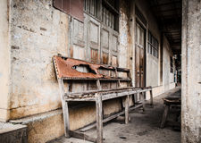 Old wooden bench background. Royalty Free Stock Photo